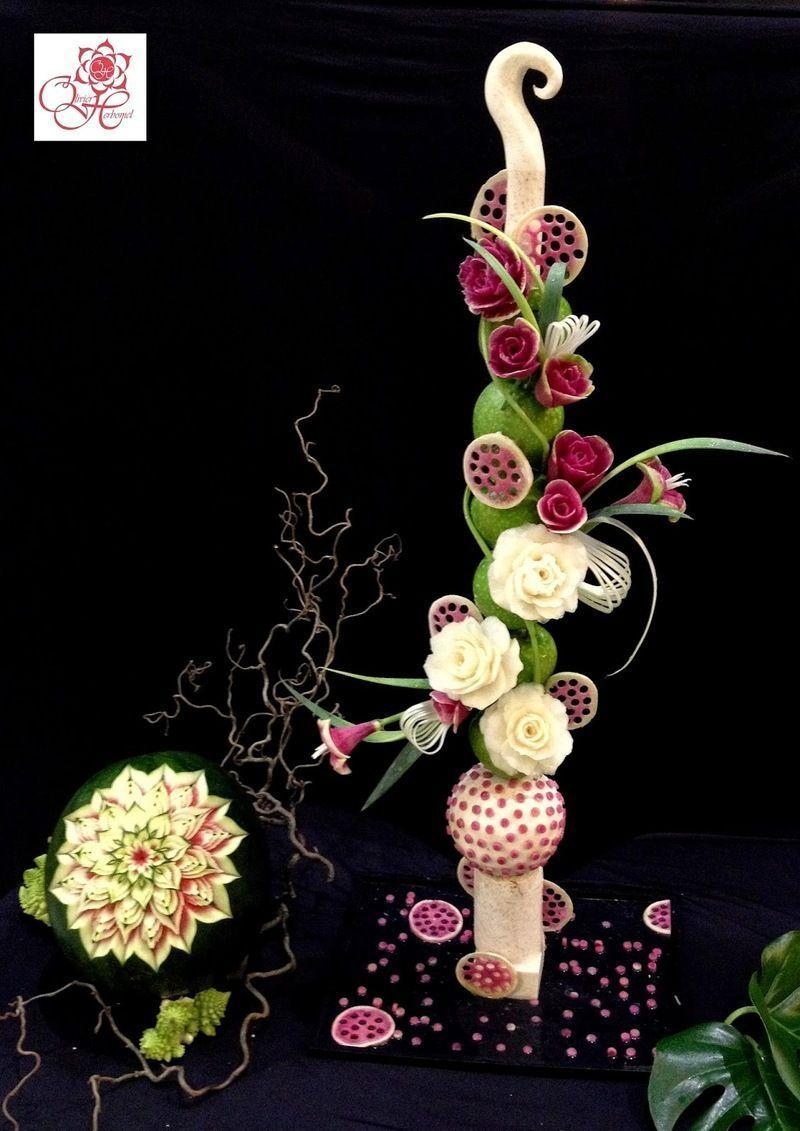 Sculptures de legumes decoratifs page 4 - Composition florale avec fruits legumes ...
