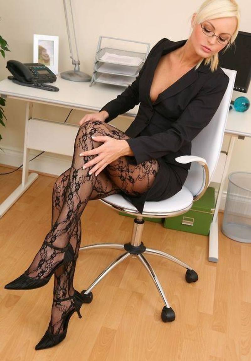Blonde in black pantyhose pics